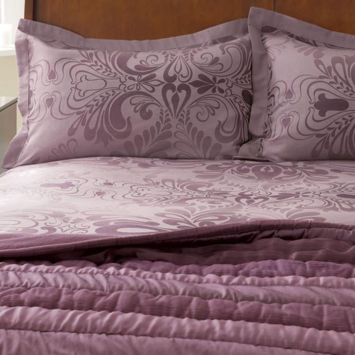 ropa de cama morada efecto jacquard de diseño
