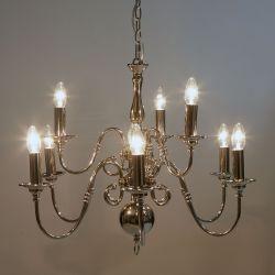 lámpara de techo tipo araña de acabado cromo de diseño con 9 brazos