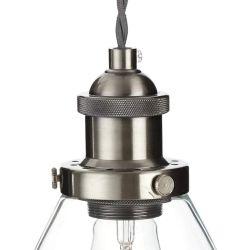 lámpara colgante cromo con tulipa de cristal