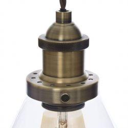 lampara colgante acabado bronce envejecido con tulipa de cristal