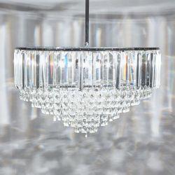 lámpara de techo de cristal con soporte cromo de diseño clásico