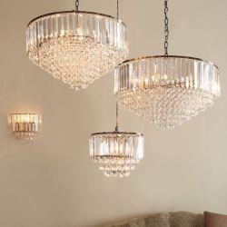 lámpara de techo de cristal con soporte bronce de diseño clásico