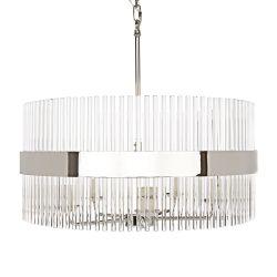 lámpara de techo circular con varillas de cristal y banda metálica níquel de diseño