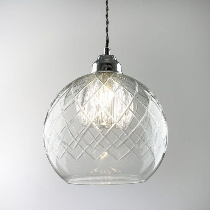 lámpara de techo en esfera de cristal labrado de diseño
