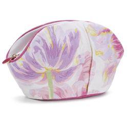neceser estampado flores tulipanes rosas y moradas
