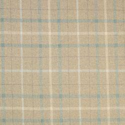 tela para tapizar en tonos naturales con estampado de cuadros en azul verdoso y blanco