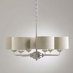 lámpara de techo cromo con pantallas color natural de diseño