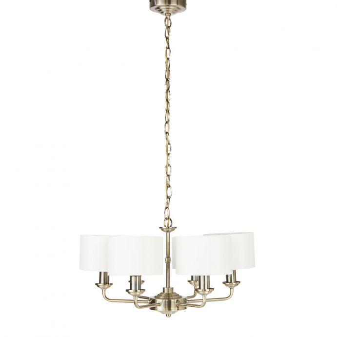 lámpara de techo bronce con pantallas color blanco de diseño