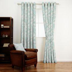tela azul verdoso con flores blancas de diseño para cortinas, cojines confecciones
