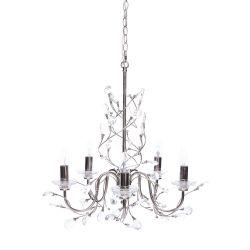 lámpara de techo de cinco brazos con hojas de cristal