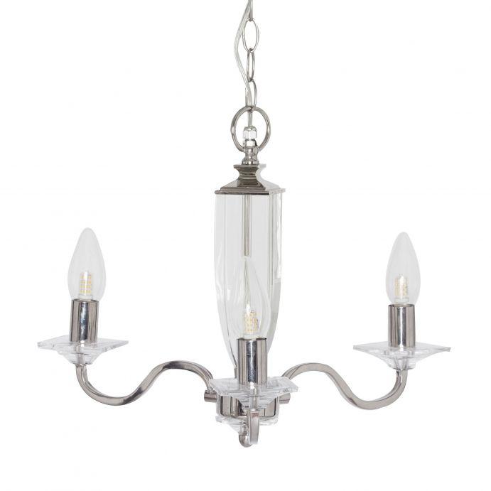 lámpara de techo de cristal y estrucutar níquel pulido de diseño y 3 brazos, apta para baños