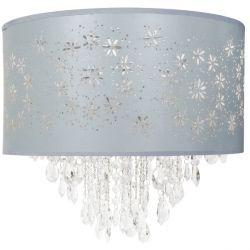 lámpara de techo con lágrimas de cristal en azul verdoso