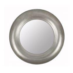 espejo de pared redondo grande plata mate