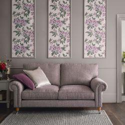 tela para tapizar de base rosa empolvado con una preciosa trama multi color