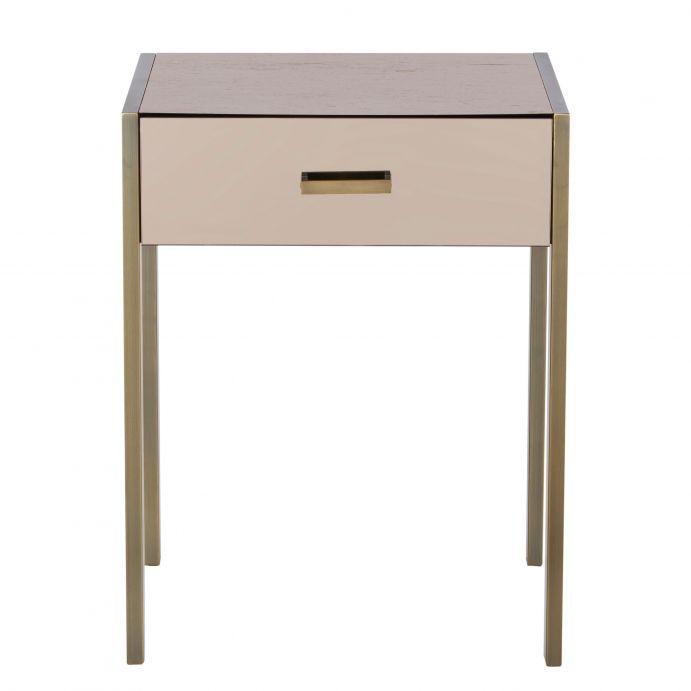 mesilla con un cajón de diseño espejado combinado con madera y metal bronce