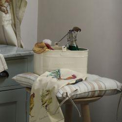 cesta de metal crema con asa ideal limpieza de una forma decorativa