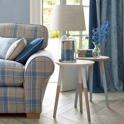 tejido de lana de cuadros para tapizar en color azul