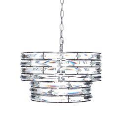 lámpara de techo de diseño en cilindro níquel y cristal transparente