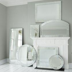 espejo apaisado de marco facetado de diseño
