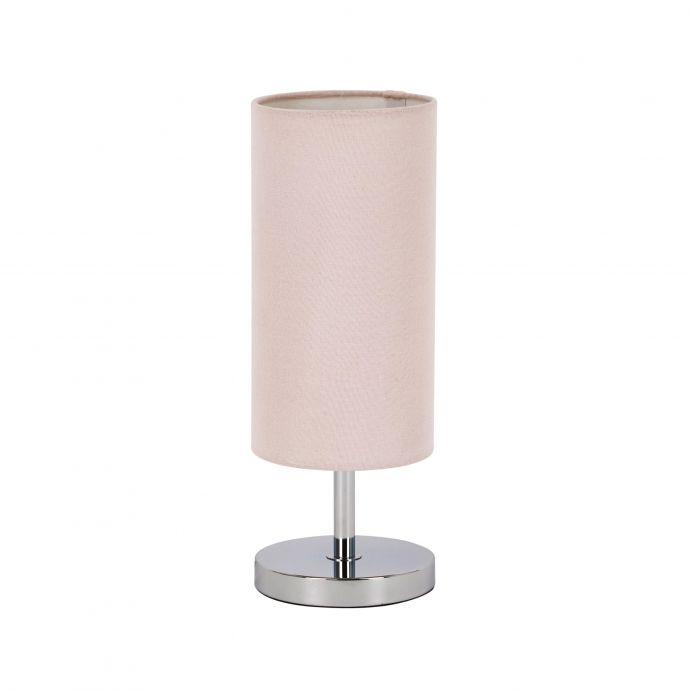lámpara completa de mesa con pantalla cilindro rosa suave