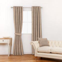 tela para confección de cortinas y estores con trama tipo seda en color natural