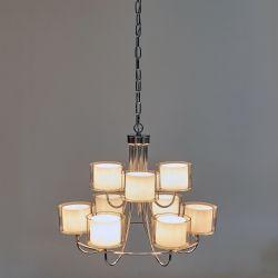 lámpara de techo de gran tamaño con 9 brazos y pantallas dobles de cristal blanco