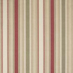 tela de rayas en tonos rojo, verde, y marrón de diseño ideal para cortinas, cojines y manteles