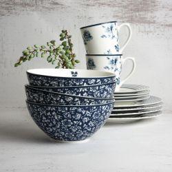 vajilla de 16 piezas de porcelana azul diseño de flores