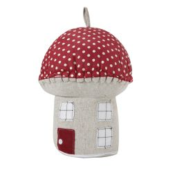 tope para puerta en forma de casita de champiñón rojo y natural