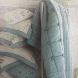 colcha timble azul verdoso