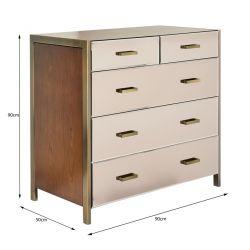 cómoda de 5 cajones para dormitorio de diseño espejado combinado con madera y metal bronce