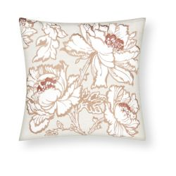 cojín con flores de diseño bordadas en tonos cobre