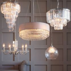 lámpara de techo de cristal con diseño espiral cónica