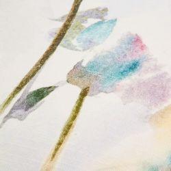 cojín cuadrado blanco con estampado de flores multi color de diseño