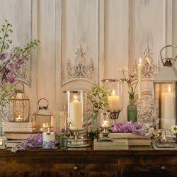 candelabro pequeño en plata y cristal de diseño