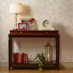 Consola con 2 cajones y blada inferior, en madera de aliso, con estilo georgiano, acabado en caoba teñida, de la colección Winsf