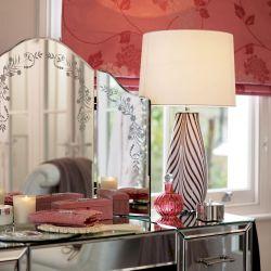 lámpara completa con base de cristal soplado de rayas artesanal y pantalla blanco hueso