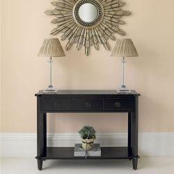 consola de madera negra con dos cajones de diseño