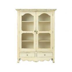 armario de 2 puertas, con detalle de rejilla, en madera de estilo rústico de diseño