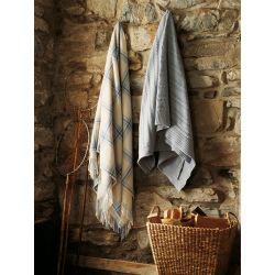 manta grande de lana  de cuadros crema y azul con flecos