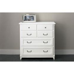 cómoda de madera maciza blanca lacada con 6 cajones