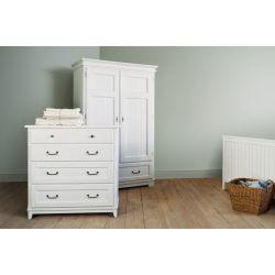 armario de dos puertas con barra, balda y cajón en madera blanca lacada