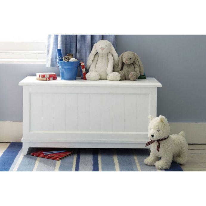 baúl con tapa abatible de madera maciza blanca lacada