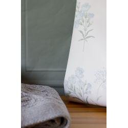 papel pintado de flores claveles azules sobre fondo blanco de diseño