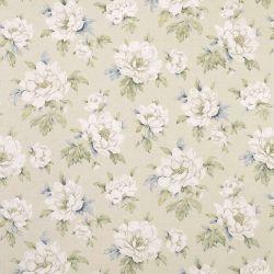 tela de lino con flores blancas de diseño