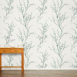 papel pintado de ramas en flor en tonos verdes y cremas