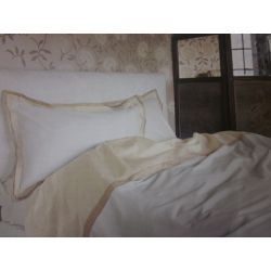 funda nórdica blanca con cenefa contrastada en oro y natural