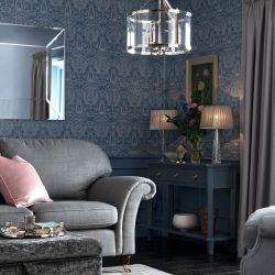 consola de 3 cajones en azul oscuro de diseño y calidad de madera maciza