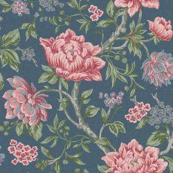 Papel Pintado Tapestry Floral Azul Mar Oscuro