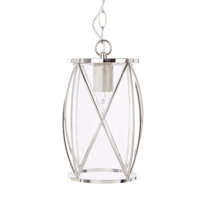 preciosa lámpara de techo en cristal y cromo de diseño enjaulado